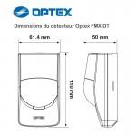 Optex FMX-DT - Dimensions du détecteur de mouvement filaire double technologie Optex FMXDT