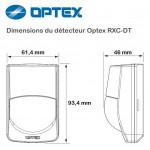 Dimensions du détecteur de mouvement filaire double technologie Optex RXCDT