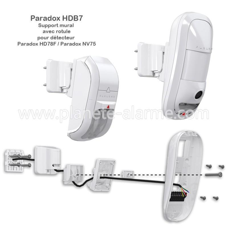 Support mural avec rotule pour le détecteur video/audio Paradox HD78F et le détecteur Paradox NV75