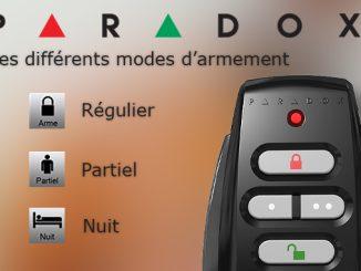 Alarme Paradox : Les différents modes d'armement