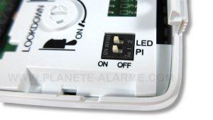 Interrupteurs pour les options «immunité aux animaux» et «éclairage LED»