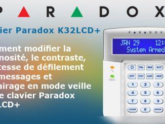 Modifier affichage luminosité sur le clavier filaire Paradox K32LCD