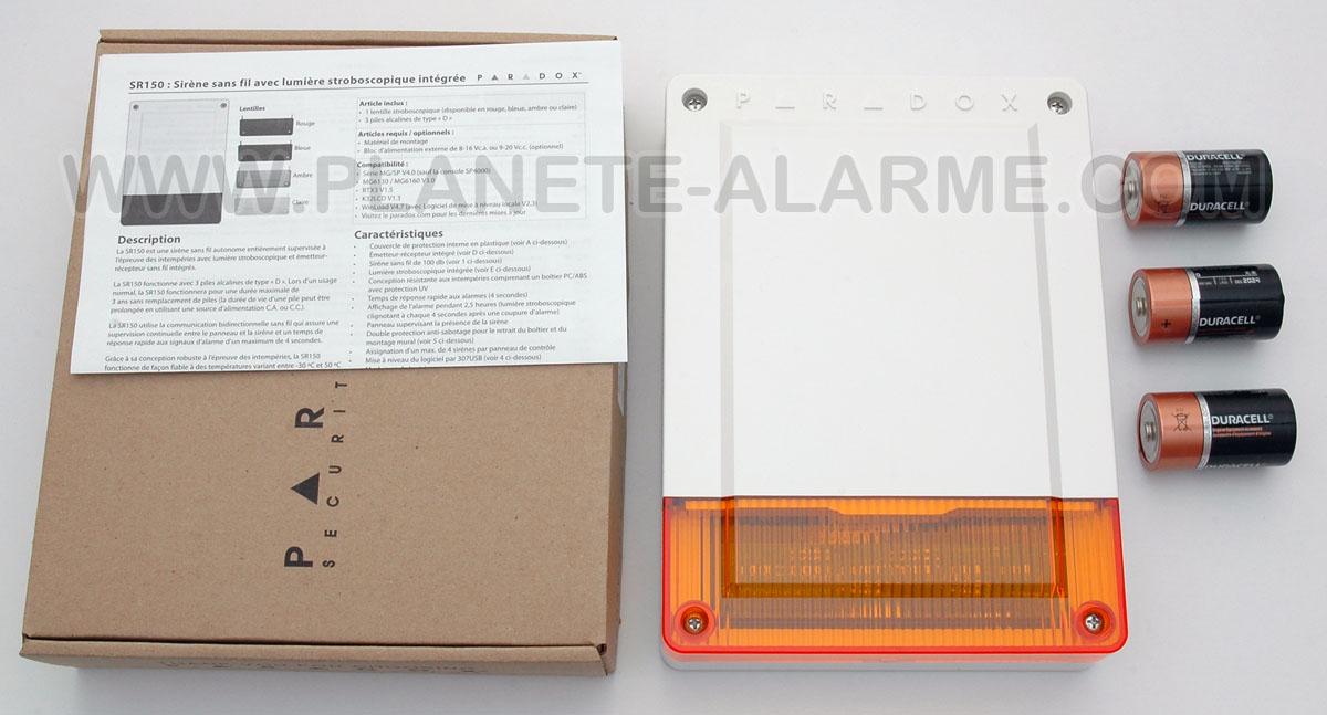 Sirène exterieur sans fil avec flash pour centrales d'alarmes Paradox mixtes et sans fils