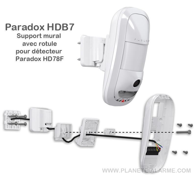 Paradox HDB7 - Support mural avec rotule de fixation pour détecteur Paradox HD78F