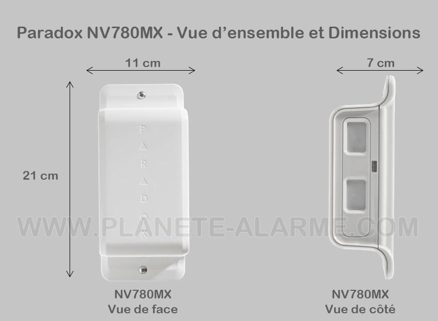 Vue et dimensions du detecteur filaire perimetrique paradox NV780MX