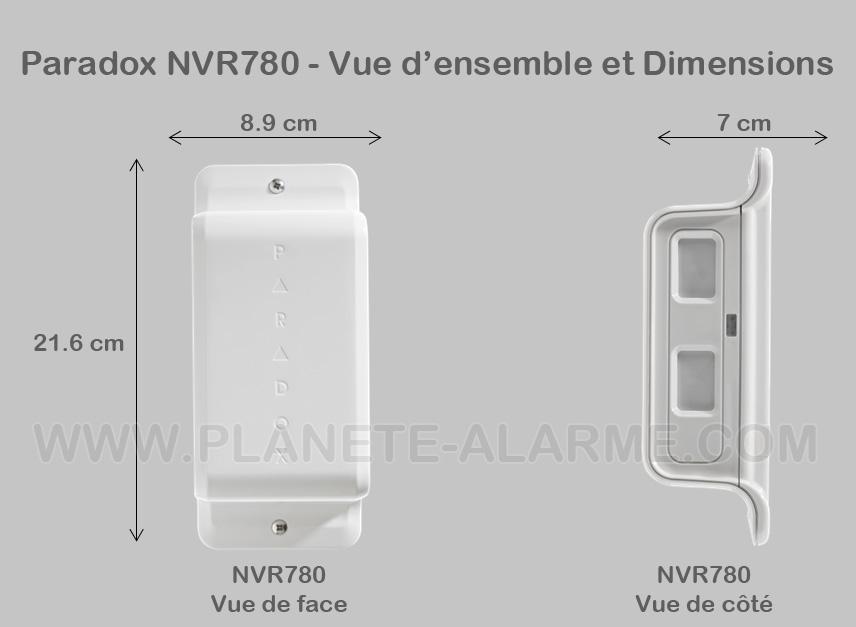 Vue et dimensions du detecteur radio sans fil perimetrique paradox NVR780