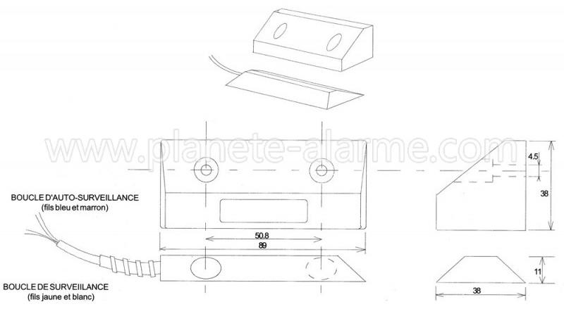 Dimensions du détecteur ouverture porte garage SC2202